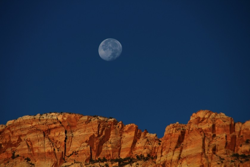 Zion NP Moon Over Zion