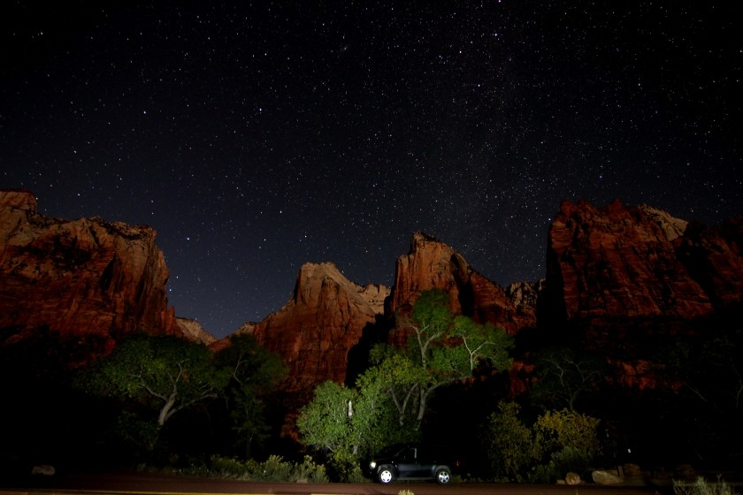 Zion NP Court Of The Patriarchs At Night